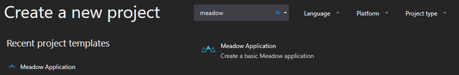 Create Project dialog with Meadow Application option